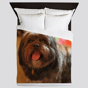 Kona Lhasa type dog with tongue out ha Queen Duvet