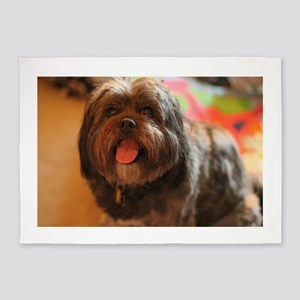 Kona Lhasa type dog with tongue out 5'x7'Area Rug