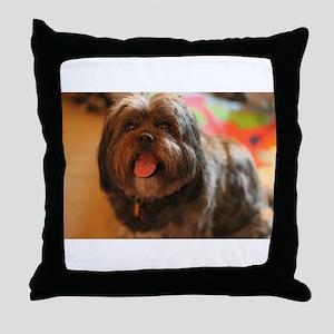 Kona Lhasa type dog with tongue out h Throw Pillow