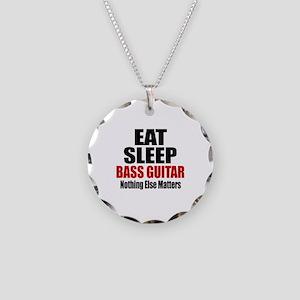 Eat Sleep Bass Guitar Necklace Circle Charm