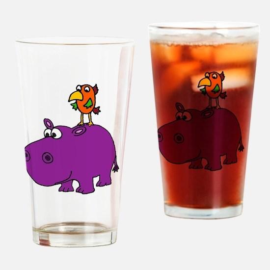 Unique Purple hippos Drinking Glass