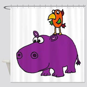 Parrot on Hippo Shower Curtain