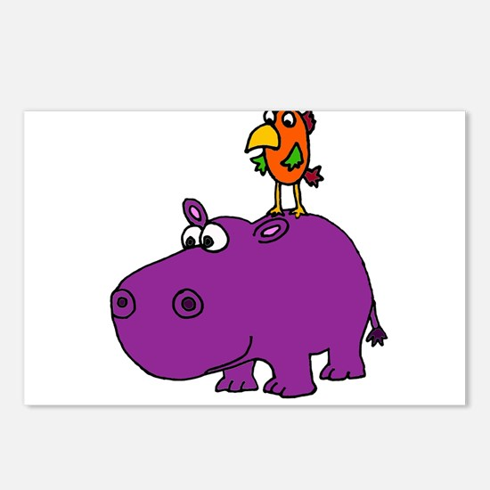 Parrot on Hippo Postcards (Package of 8)