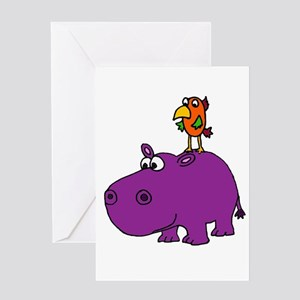 Parrot on Hippo Greeting Cards
