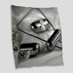 Crab Lines Burlap Throw Pillow