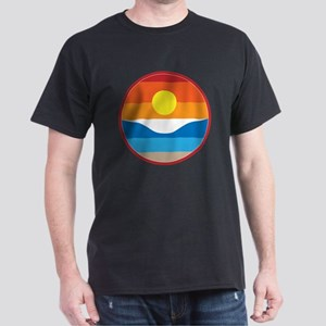 Horizon Sunset Illustration with Crashing Wave T-S