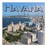 "Havana (Cuba) Square Car Magnet 3"" x 3"""