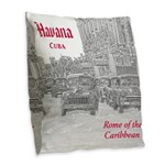 Havana (Cuba) Burlap Throw Pillow