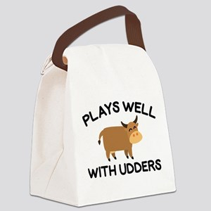 Plays Well With Udders Canvas Lunch Bag