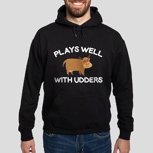 Plays Well With Udders Hoodie (dark)