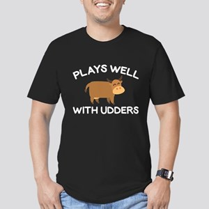 Plays Well With Udders Men's Fitted T-Shirt (dark)