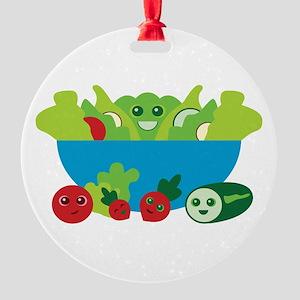 Kawaii Salad Round Ornament