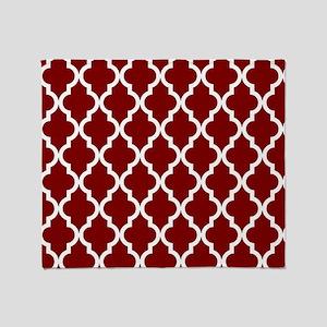 Moroccan Quatrefoil Pattern: Maroon Throw Blanket