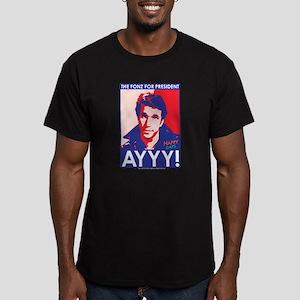 The Fonz for President Men's Fitted T-Shirt (dark)