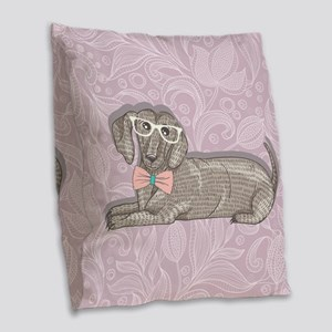 Hipster Dachshund Burlap Throw Pillow