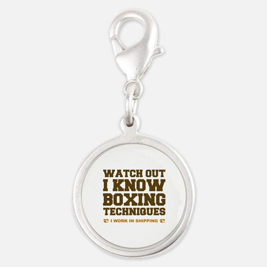 I Know Boxing Techniques Silver Round Charm