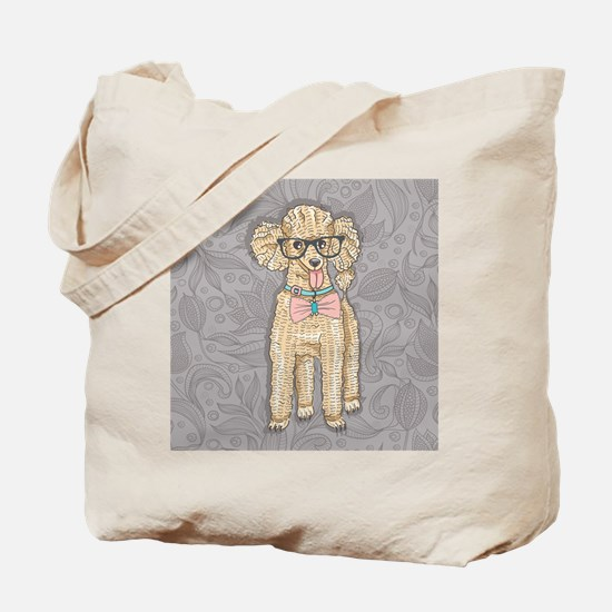 Hipster Poodle Tote Bag