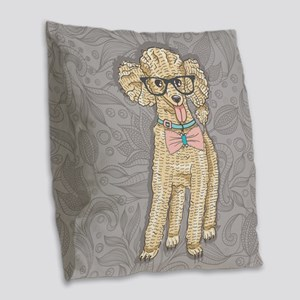 Hipster Poodle Burlap Throw Pillow
