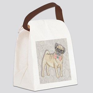 Hipster Pug Canvas Lunch Bag