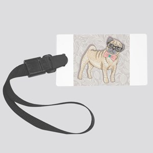 Hipster Pug Luggage Tag