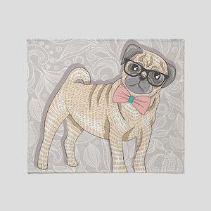 Hipster Pug Throw Blanket
