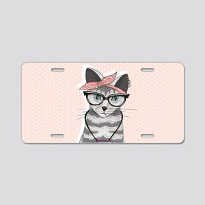 Hipster Cat Aluminum License Plate
