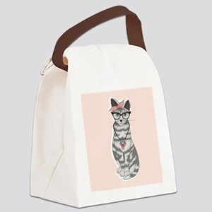 Hipster Cat Canvas Lunch Bag