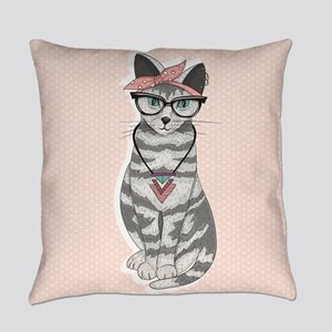 Hipster Cat Everyday Pillow