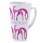 Borzoi Hounds Pink 17 Oz Latte Mug