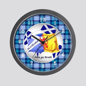 Scotland Blue Tartan Football Time Wall Clock