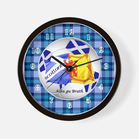 Scotland Blue Tartan Football Time Wall Clock