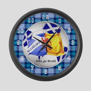 Scotland Blue Tartan Football Large Wall Clock