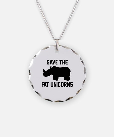 Save The Fat Unicorns Necklace Circle Charm