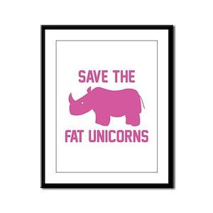 Save The Fat Unicorns Framed Panel Print