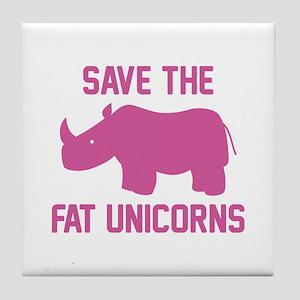 Save The Fat Unicorns Tile Coaster