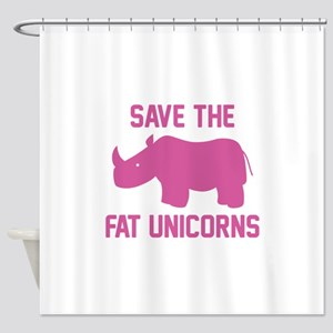Save The Fat Unicorns Shower Curtain