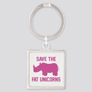 Save The Fat Unicorns Square Keychain