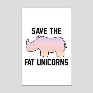 Save The Fat Unicorns Mini Poster Print