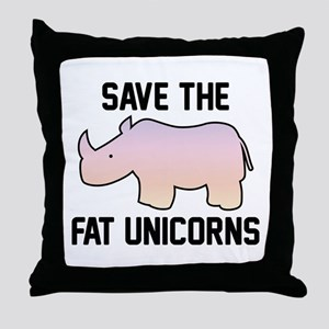 Save The Fat Unicorns Throw Pillow