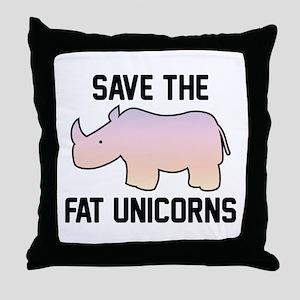Save The Fat Unicorns Throw Pillow