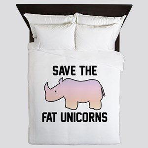 Save The Fat Unicorns Queen Duvet