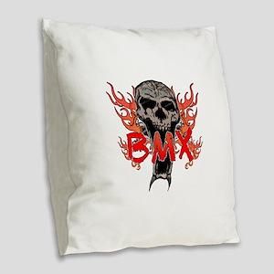BMX skull 2 Burlap Throw Pillow