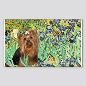 Irises & Yorkie #7 Rectangle Sticker