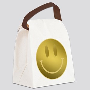 GOLD Smiley Gold Outline Canvas Lunch Bag