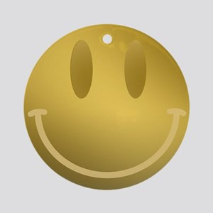 GOLD Smiley Gold Outline Round Ornament