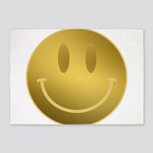 GOLD Smiley Gold Outline 5'x7'Area Rug