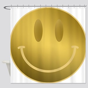 GOLD Smiley Gold Outline Shower Curtain