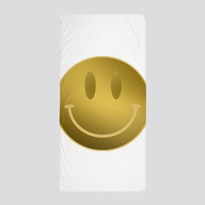 GOLD Smiley Gold Outline Beach Towel
