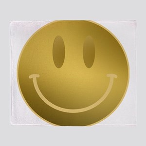 GOLD Smiley Gold Outline Throw Blanket