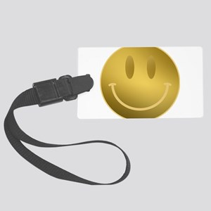 GOLD Smiley Gold Outline Large Luggage Tag